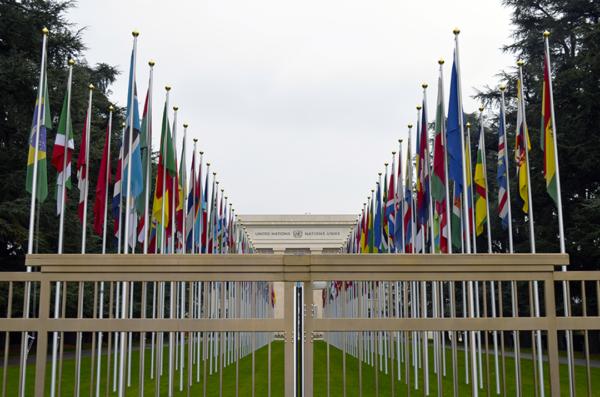 Banderas del Palacio de las Naciones de Ginebra