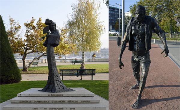 Estatuas de Sisi y del monstruo de Frankenstein