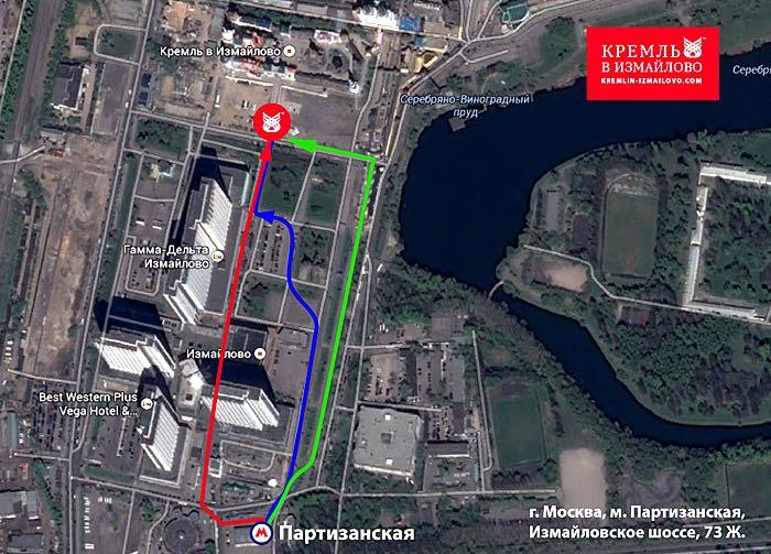 Mapa para llegar al mercado de Izmailovo