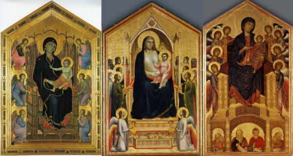 Madonnas de Duccio, Giotto y Cimbaue